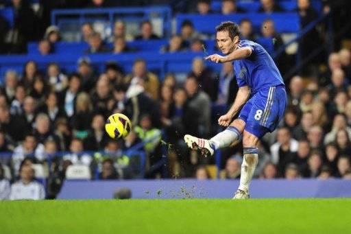 Chelsea's Frank Lampard shoots during the match between Chelsea and Aston Villa at Stamford Bridge on December 23, 2012