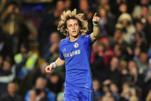 Chelsea's David Luiz celebrates scoring during the match between Chelsea and Aston Villa on December 23, 2012