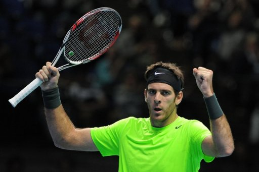 Argentina's Juan Martin Del Potro reacts at the ATP World Tour Finals tennis tournament in London on November 11, 2012
