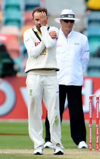 Australian spinner Nathan Lyon reacts after bowling to the Sri Lankan batsman, in Hobart, on December 18, 2012