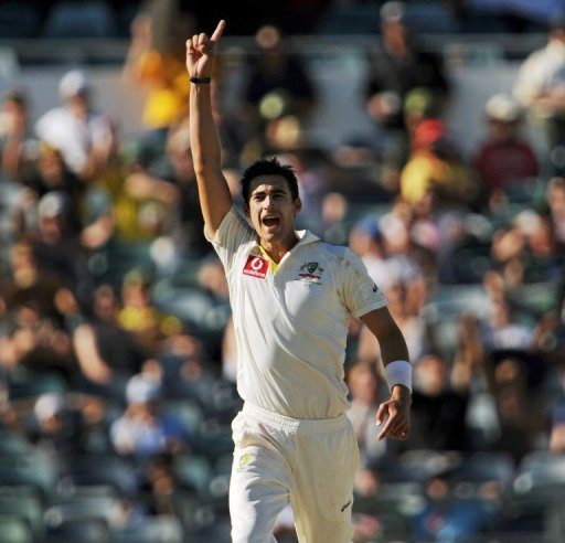 Australia's bowler Mitchell Starc, pictured  during a Test match in Perth, on December 2, 2012