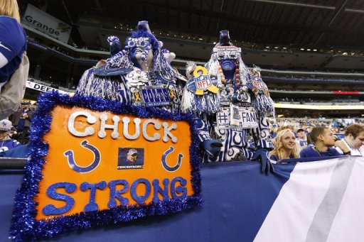 Indianapolis Colts fans show support for head coach Chuck Pagano before a game on November 25, 2012 in Indianapolis
