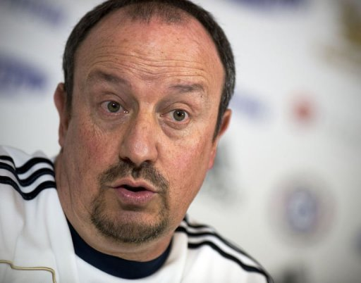 Chelsea interim manager Rafael Benitez answers questions in Surry on December 18, 2012