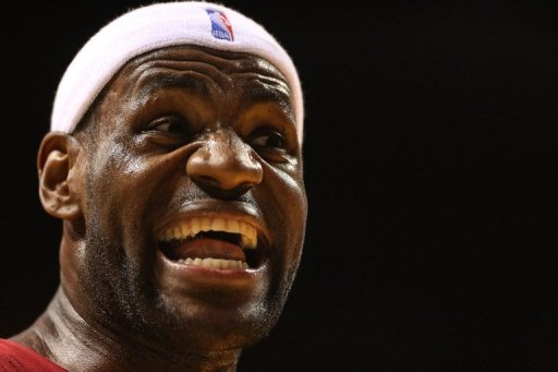 LeBron James of the Miami Heat shouts at the referee during the game against Oklahoma City Thunder on December 25, 2012