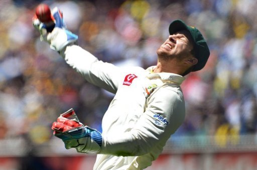 Australian wicketkeeper Matthew Wade celebrates on the first day of the second Test in Melbourne on December 26, 2012