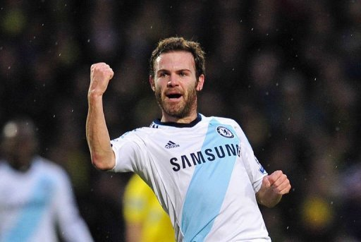 Chelsea's Juan Mata celebrates scoring the opening goal in Norwich on December 26, 2012
