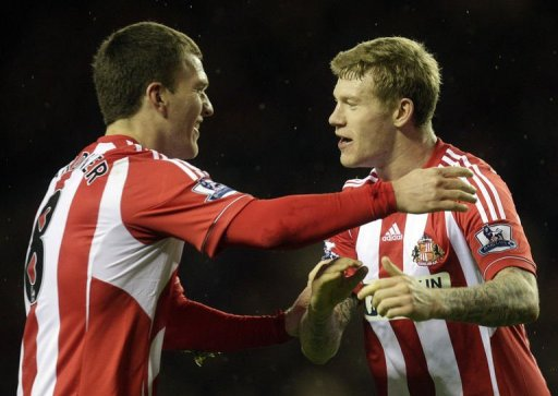 Sunderland's Craig Gardner (L) and James McClean (R) celebrate at The Stadium of Light on December 26, 2012
