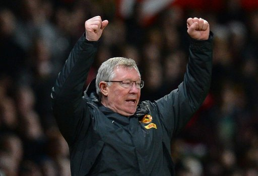 Manchester United manager Alex Ferguson reacts at the final whistle at Old Trafford on December 26, 2012