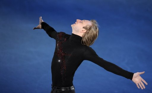 Yevgeny Plushenko performs during the gala at the 2010 European Figure Skating Championships on January 24, 2010