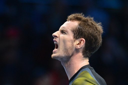 Britain's Andy Murray reacts at the ATP World Tour Finals tennis tournament in London on November 11, 2012