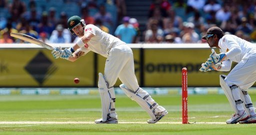 Michael Clarke turns a ball to leg during the second day of the second Test in Melbourne on December 27, 2012