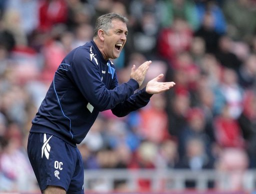 Owen Coyle shouts instructions during a match against Sunderland, April 28, 2012