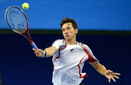 Ukraine's Sergiy Stakhovsky pictured during the quarter-final of the ATP Stockholm Open on October 19, 2012