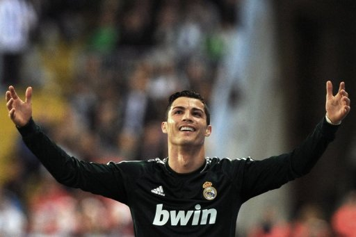 Cristiano Ronaldo reacts at La Rosaleda stadium in Malaga on December 22, 2012