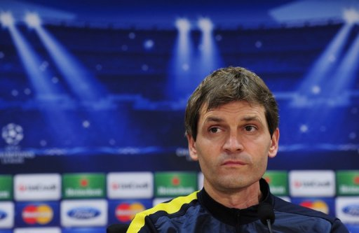 Tito Vilanova gives a press conference at the Sports Center FC Bacelona Joan Gamper in St Joan Despi on December 4, 2012