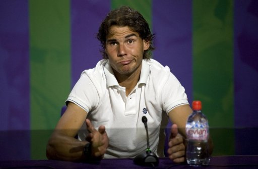 Rafael Nadal speaks during a press conference after his 2nd round defeat, in Wimbledon, on June 28, 2012