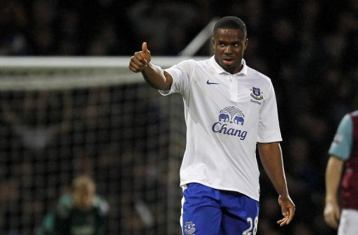 Everton's Victor Anichebe celebrates scoring a goal against West Ham United, on December 22, 2012