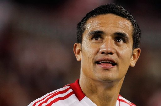 Tim Cahill smiles after helping the New York Red Bulls defeat the Columbus Crew in New Jersey on September 15, 2012