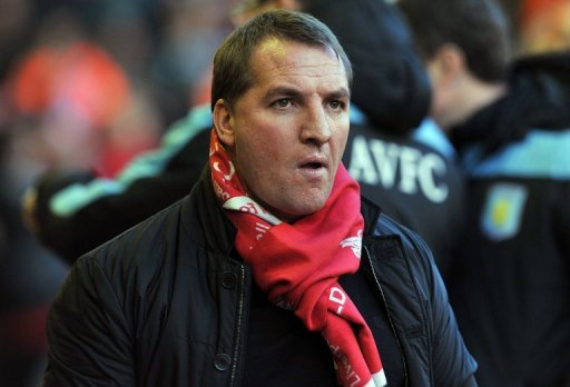 Brendan Rodgers looks on before the league match between Liverpool and Aston Villa at Anfield on December 15, 2012