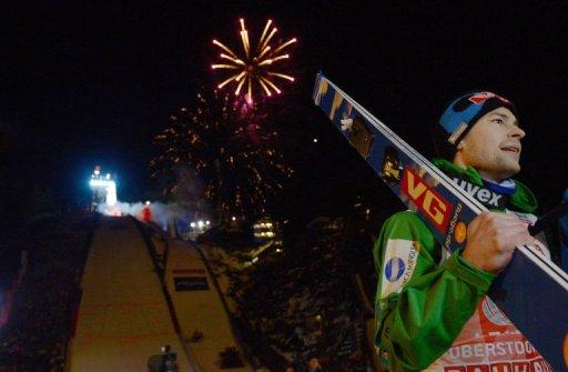 Anders Jacobsen celebrates at the Four-Hills-Tournament (Vierschanzentournee) on December 30, 2012 in Oberstdorf