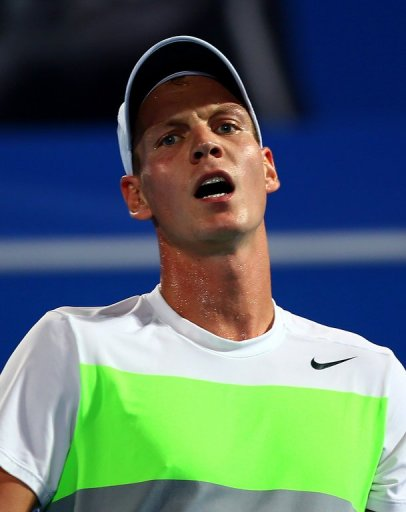 Tomas Berdych in action at the Mubadala World Tennis Championships in Abu Dhabi on December 27, 2012