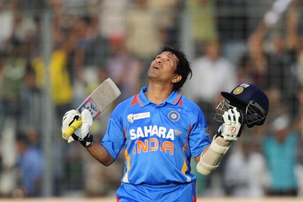 Indian batsman Sachin Tendulkar reacts a