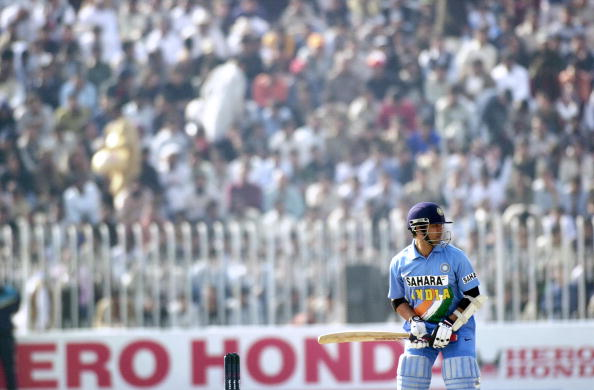 Indian cricketer Sachin Tendulkar watche