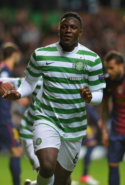 Wanyama celebrates after scoring against Barcelona