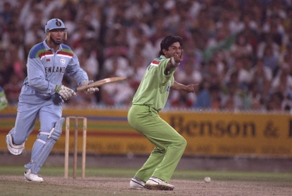 Akram swung the 1992 final in Pakistan's favor; here seen appealing for Derek Pringle's wicket
