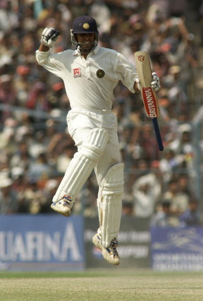 14 Mar 2001:   Rahul Dravid of India reaches 100, during day four of the 2nd Test between India and Australia played at Eden Gardens