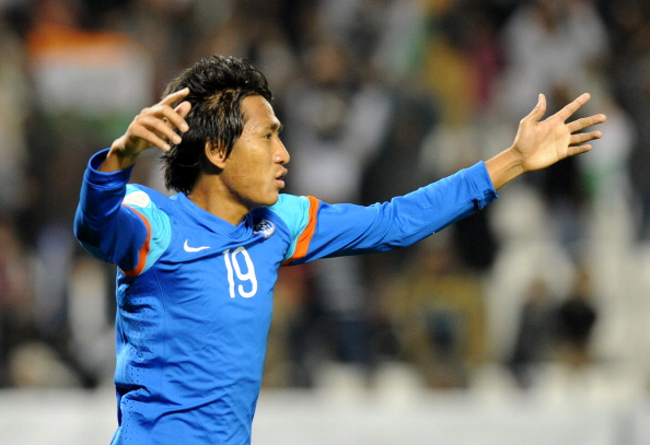 India's midfielder Gouramangi Singh cele