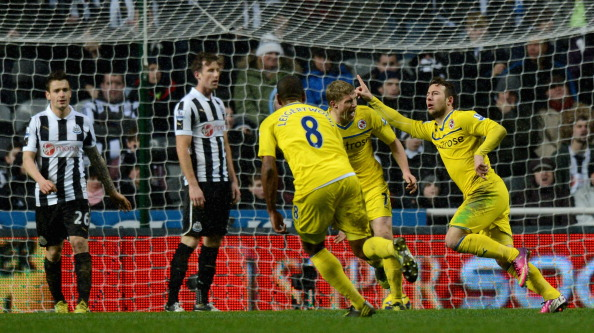 NEWCASTLE UPON TYNE, ENGLAND - JANUARY 19:  Adam le Fondre of Reading celebrates scoring the winning goal during the Barclays Premier League match between Newcastle United and Reading