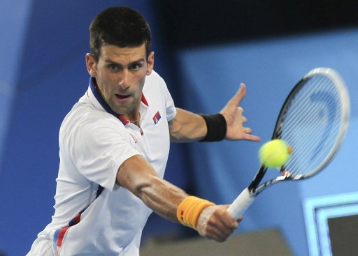 Novak Djokovic plays Andreas Seppi on day three of the Hopman Cup tennis tournament in Perth on December 31, 2012