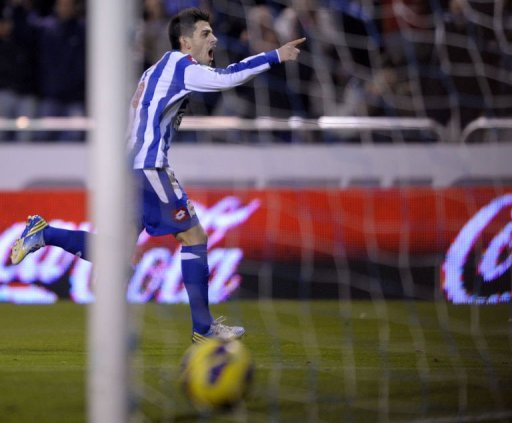 Deportivo Coruna's forward Pizzi celebrates after scoring a goal in La Coruna on January 5, 2013