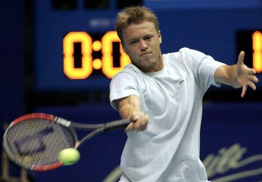 Benjamin Balleret of Monaco plays a returns at the ATP Thailand tennis Open in Bangkok, on September 28, 2006