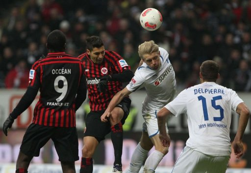 L-R: Frankfurt's Olivier Occean and Karim Matmour vie with Hoffenheim's Andreas Beck and Matthieu Delpierre