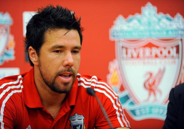Liverpool FC present new signings Charlie Adam, Alexander Doni, Stewart Downing, and Jordan Henderson.
