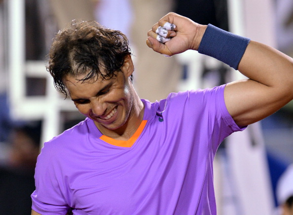 Rafael Nadal celebrates victory over France's Jeremy Chardy during ATP Vina del Mar tournament semifinal singles match, in Vina del Mar, about 120 km northwest of Santiago, on February 9, 2013.