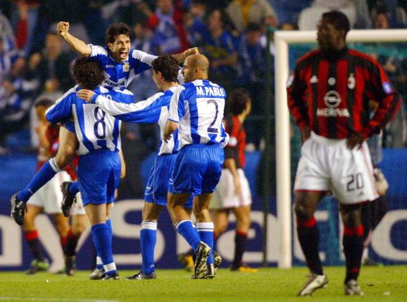 Deportivo Coruna's players Sergio Gonzal