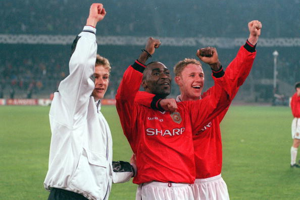 Football. 1999 UEFA Champions League Semi-Final, Second leg. 21st April, 1999. Turin. Juventus 2 v Manchester United 3. Manchester United's L-R: Ole Gunnar Solskjaer, Andy Cole and Nicky Butt celebrate at the end after reaching the Final