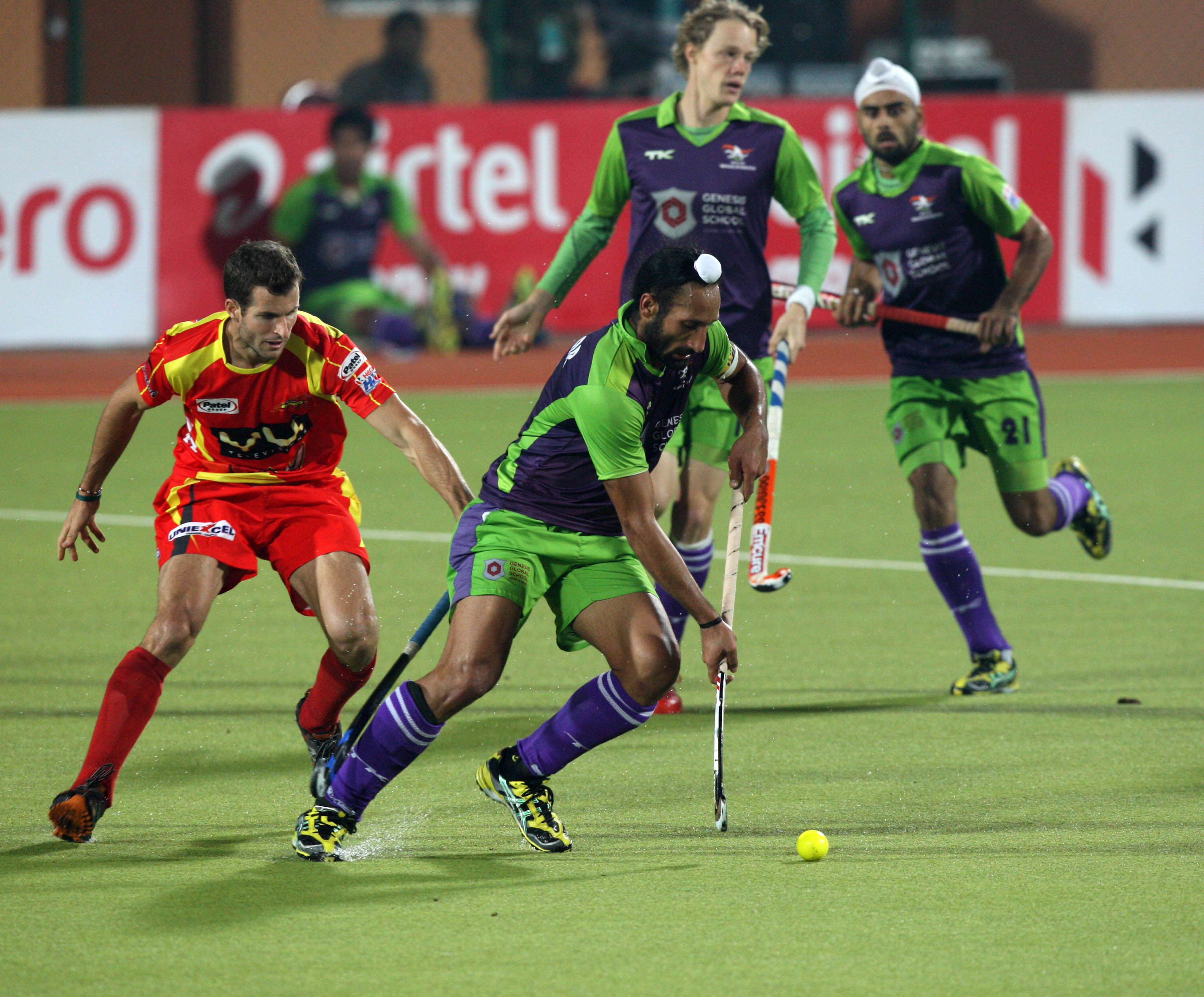 Sardar singh captain of DWR team in action during 22nd match of HHIL2013 at ranchi