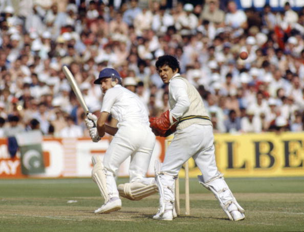BT Sport. Cricket. pic: 18th June 1983. World Cup at Old Trafford. England beat Pakistan by 7 wickets. England's Chris Tavare batting with Pakistan wicket-keeper Wasim Bari watching.