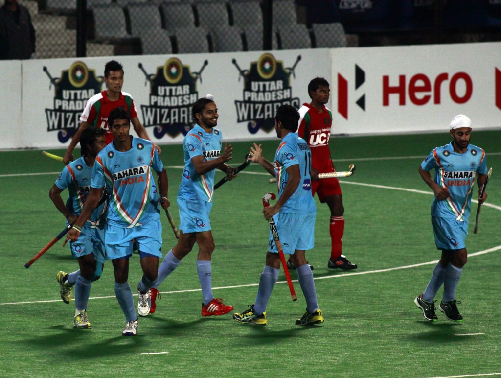Ind team celebrates after hitting a goal
