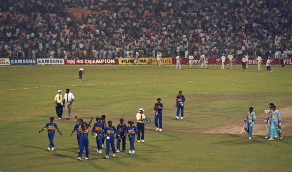 World Cup semi-final 1996 India v Sri Lanka at Calcutta Clive Lloyd (in white shirt), the match Referee, has awarded the game to Sri Lanka following crowd disturbance, which made it impossible to continue.