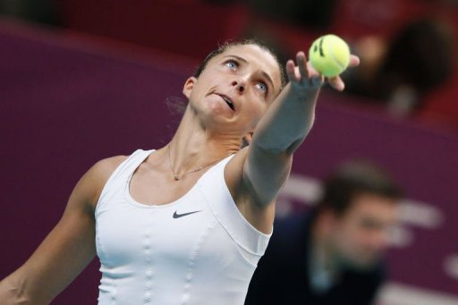 Italy's Sara Errani serves on January 31, 2013 during the second round of the 21st Paris Open in Paris