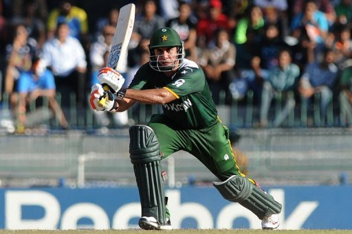 Nasir Jamshed plays a shot during a match in Colombo, on October 2, 2012