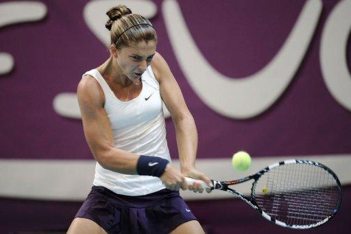 Italy's Sara Errani returns the ball on February 2, 2013 in Paris