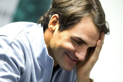 Roger Federer gives a press conference on February 11, 2013 in Rotterdam