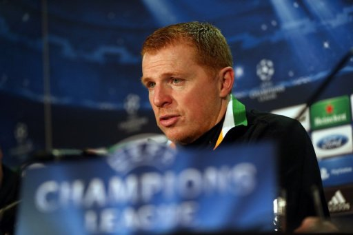Celtic manager Neil Lennon gives a press conference, on February 11, 2013, ahead of the clash with Juventus