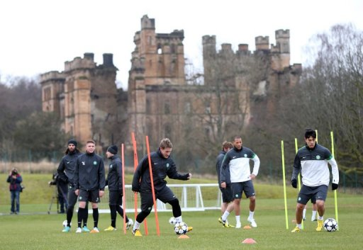 Celtic train on February 11, 2013, ahead of their UEFA Champions League last-16 match home to Juventus